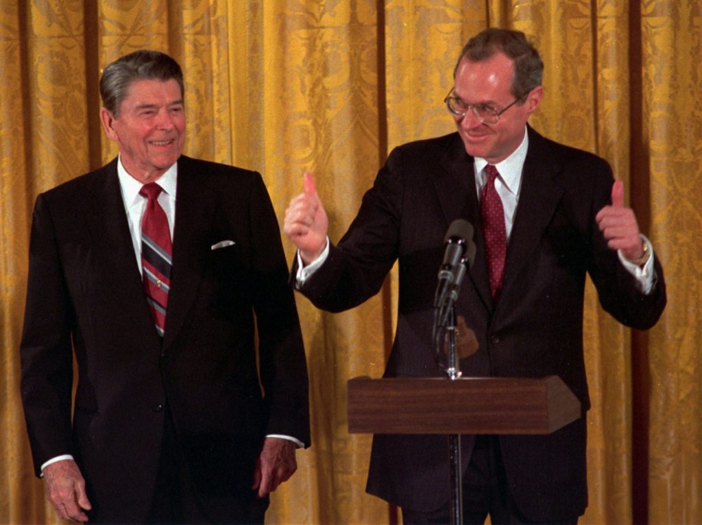 Anthony Kennedy, right, seen after being sworn in to the Supreme Court in 1988, was President Reagan's third nominee – the Senate rejected the first one, and a reader hopes for similar discretion on the choice of Brett Kavanaugh.