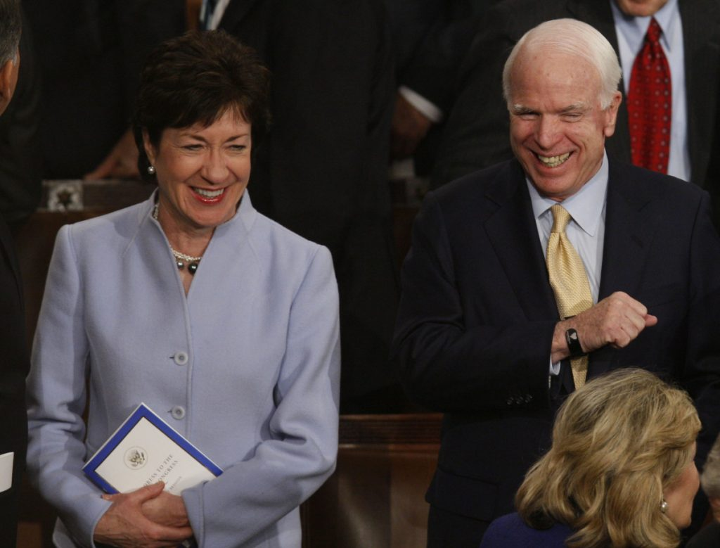 "Maine Republican U.S. Sen. Susan Collins, shown with Republican U.S. Sen. John McCain in 2009, said Sunday: ""I am going to miss the fact that he was so much fun."""
