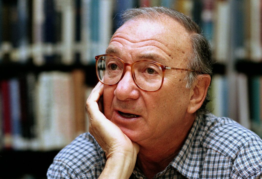 "American playwright Neil Simon answers questions during an interview in Seattle, Wash. Simon, a master of comedy whose laugh-filled hits such as ""The Odd Couple,"" ""Barefoot in the Park"" and his ""Brighton Beach"" trilogy dominated Broadway for decades, died on Sunday. He was 91."