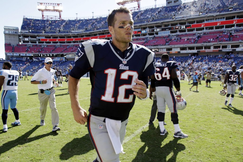 New England Patriots quarterback Tom Brady cut an interview short with WEEI on Monday after being questioned about his personal trainer and business partner, Alex Guerrero. (AP Photo/Wade Payne, File)