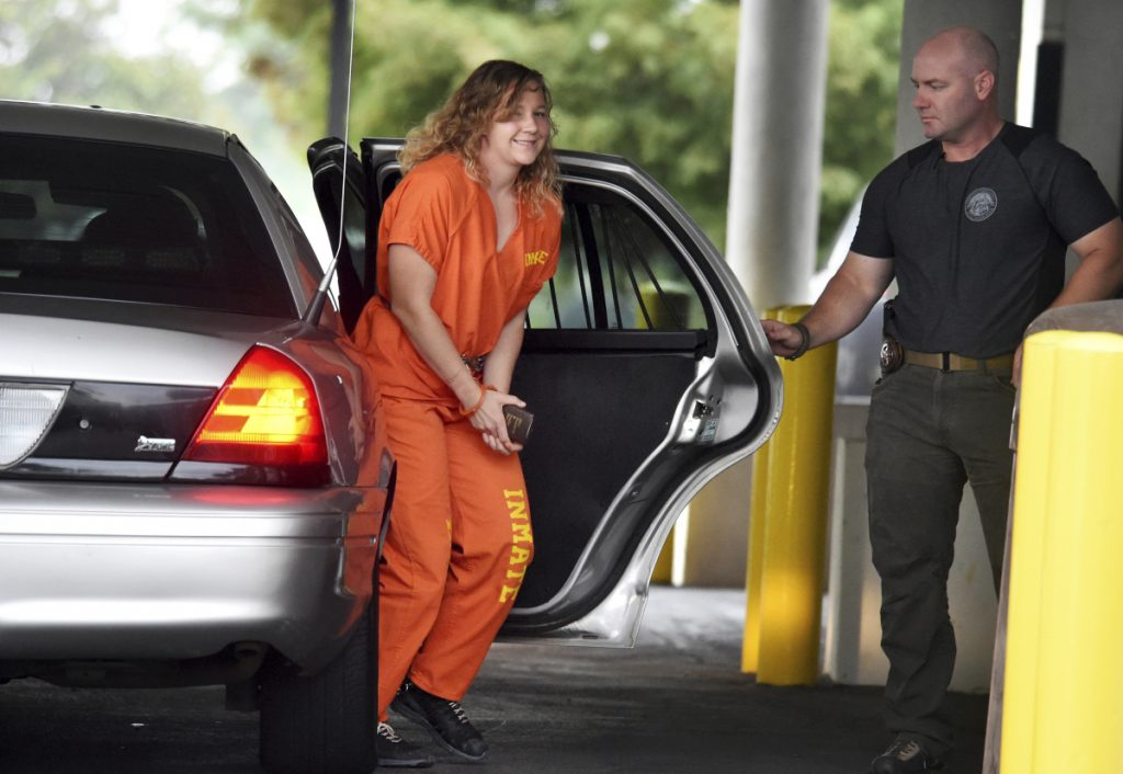 Reality Winner arrives at a courthouse in Georgia on August 23, after she pleaded guilty in June to copying a classified U.S. report and mailing it to an unidentified news organization.