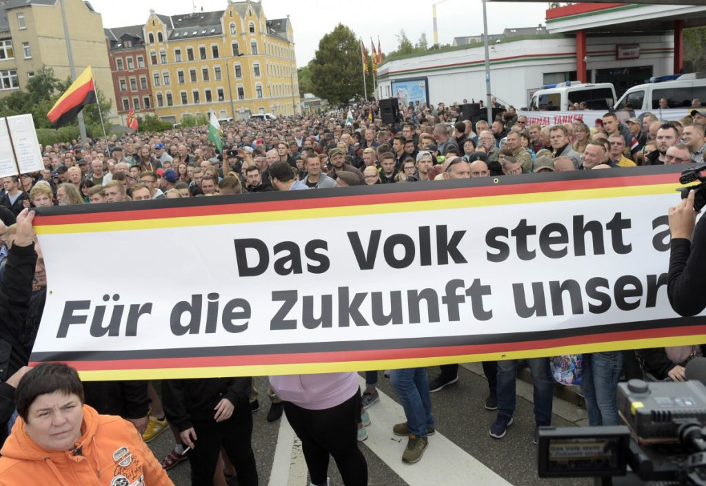 People gather for a far-right demonstration in Chemnitz, Germany, on Thursday after a man died in the eastern German city last Sunday.
