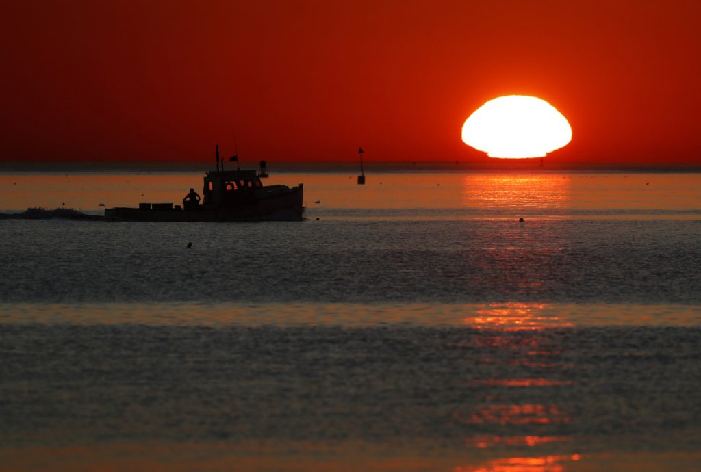 A lobster boat heads out to sea at sunrise. New data indicate that the Gulf of Maine, one of the fastest warming bodies of water in the world, is in the midst of an all-time hot stretch.
