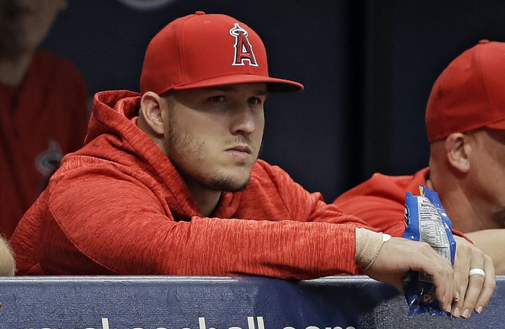 Los Angeles Angels center fielder Mike Trout is on the 10-day disabled list with right wrist inflamation.