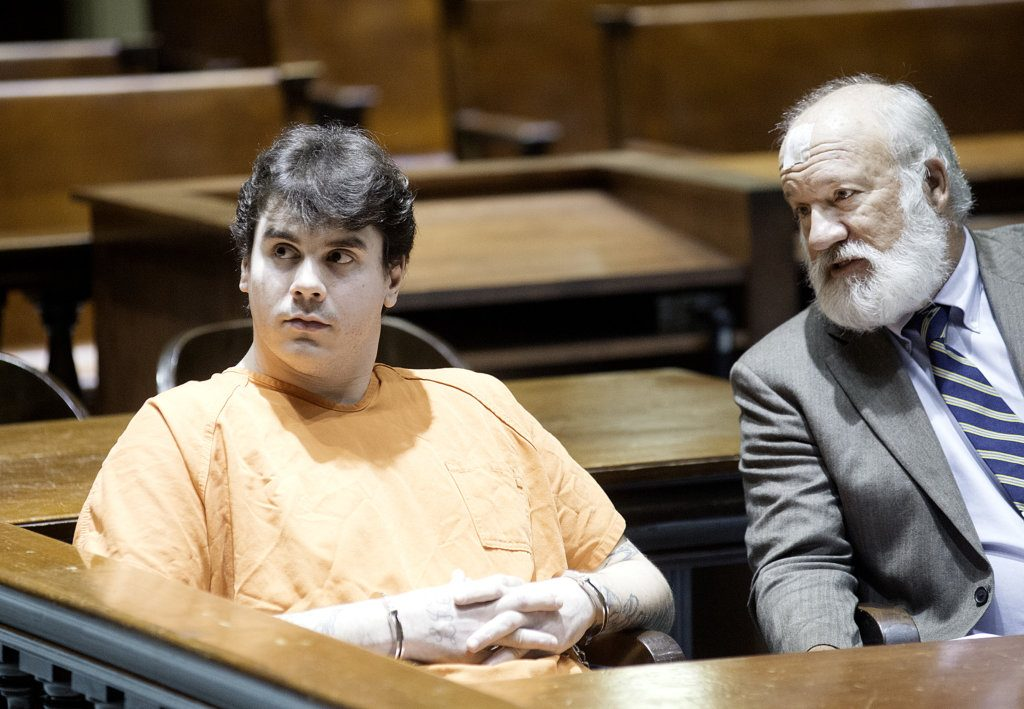 Luke Blair, left, appears in Androscoggin County Superior Court with his attorney, William Baghdoyan, in Auburn on Monday morning.