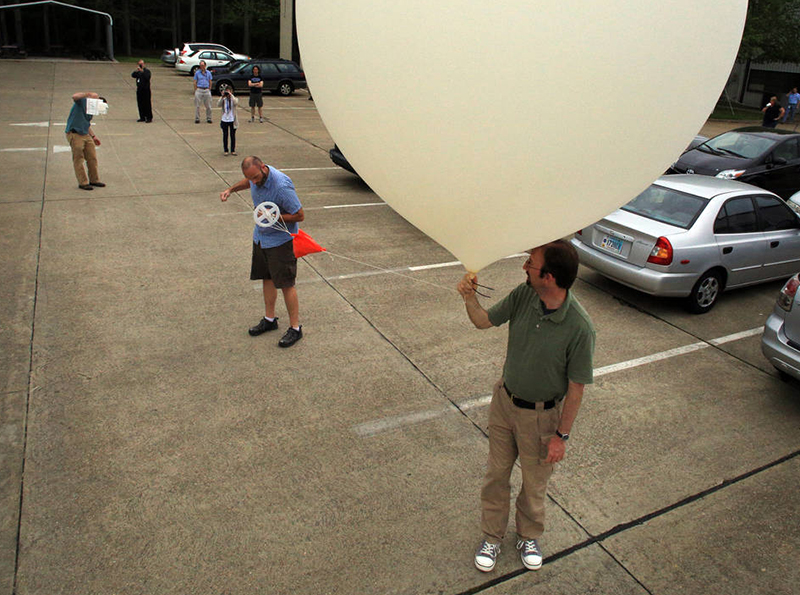 A NASA team prepare to launch one of the ozone-testing 'packages' in Virginia in 2014.