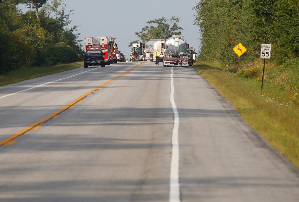 The scene on the Gorham bypass on Tuesday after an SUV crossed the centerline and struck a fuel truck.