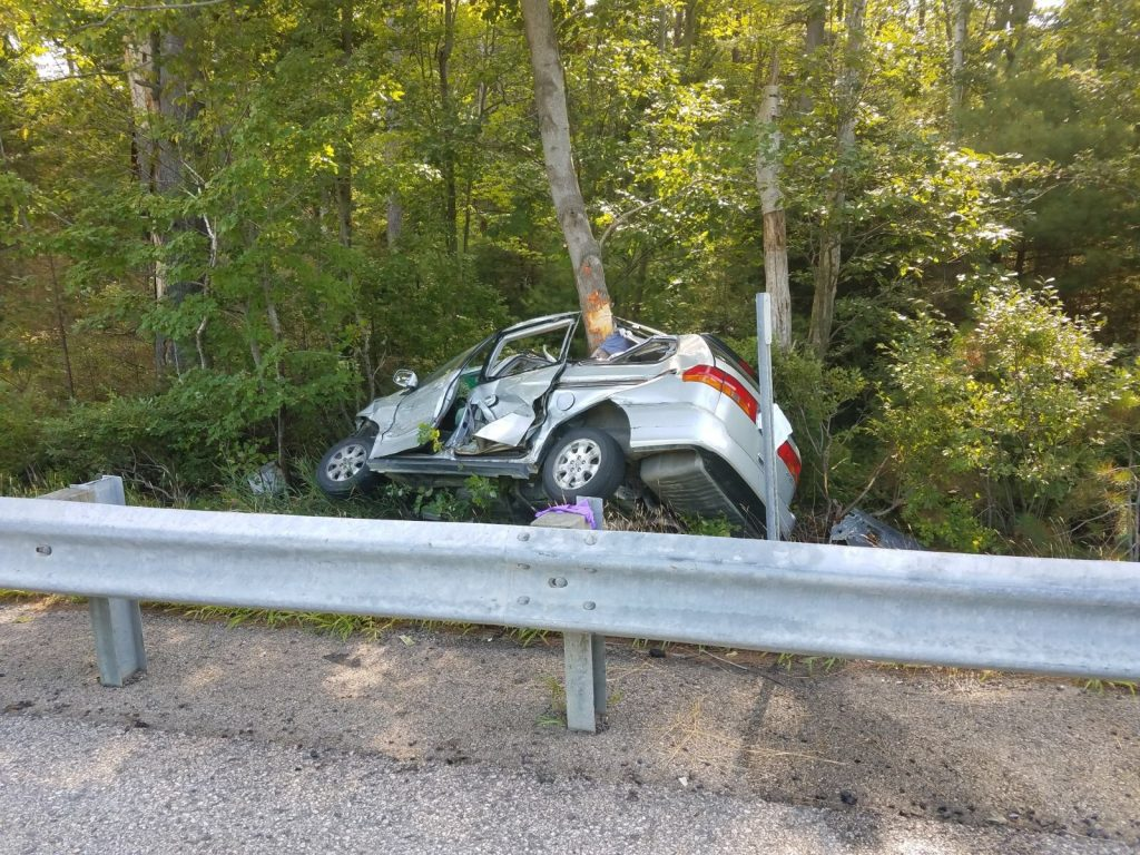 The scene of the fatal wreck on the Maine Turnpike in Wells.