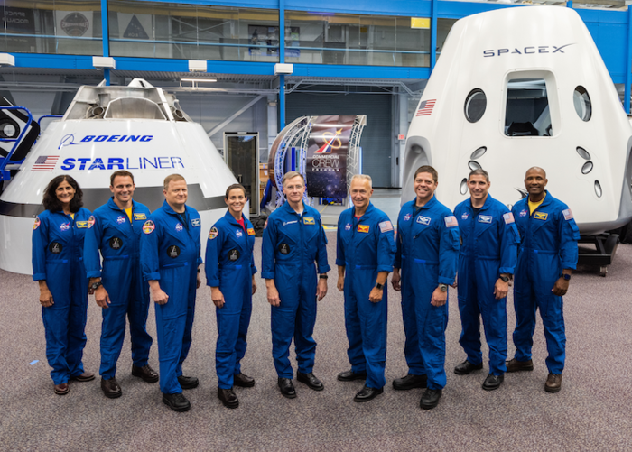 The first group of U.S. astronauts who will fly on American-made, commercial spacecraft to and from the International Space Station –since the space shuttle's retirement in 2011.  The astronauts are, from left to right: Sunita Williams, Josh Cassada, Eric Boe, Nicole Mann, Christopher Ferguson, Douglas Hurley, Robert Behnken, Michael Hopkins and Victor Glover.