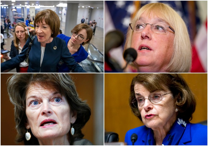 Top left, Sen. Susan Collins, R-Maine, Sen. Patty Murray, D-Washington. Bottom left, Sen. Lisa Murkowski, R-Alaska, Sen. Dianne Feinstein, D-California.