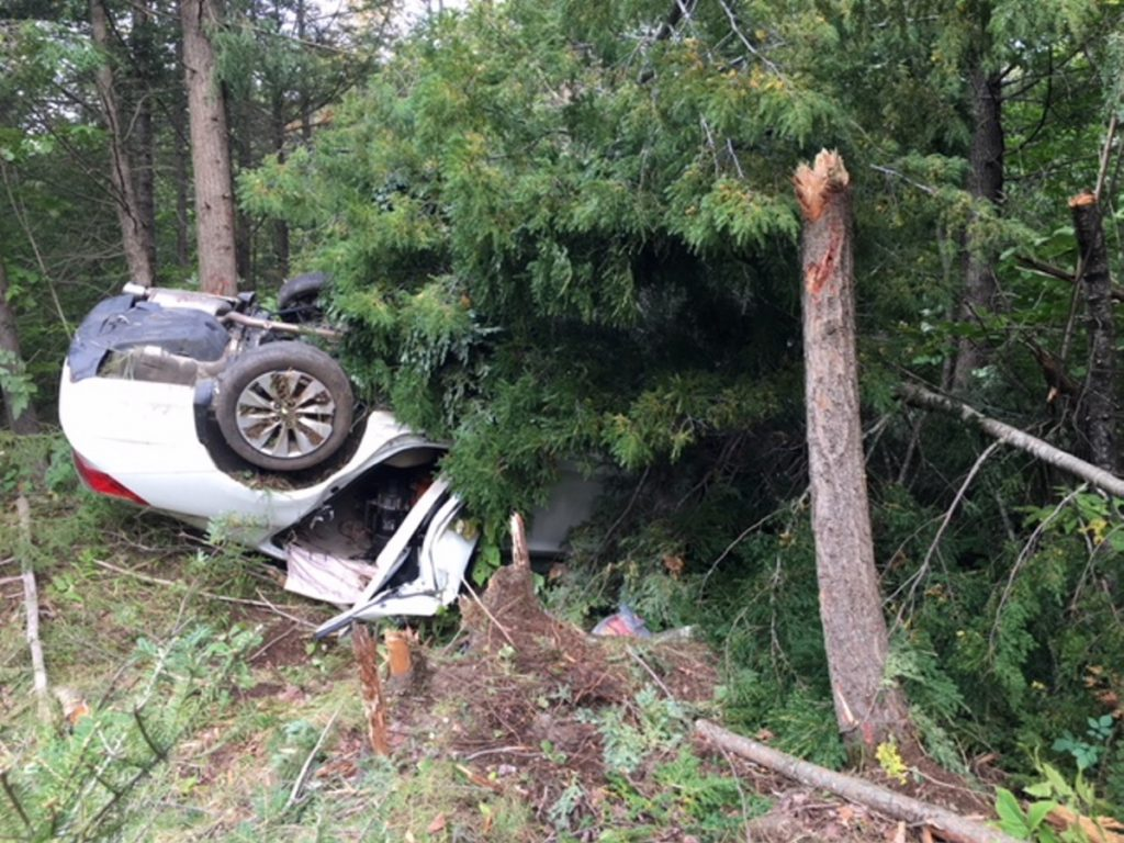 A white Honda Accord driven by Leslie Ridley Jr., of Skowhegan, crashed off Thurston Hill Road in Madison injuring three people, including Ridley, police said, on Saturday, Sept. 22, 2018.