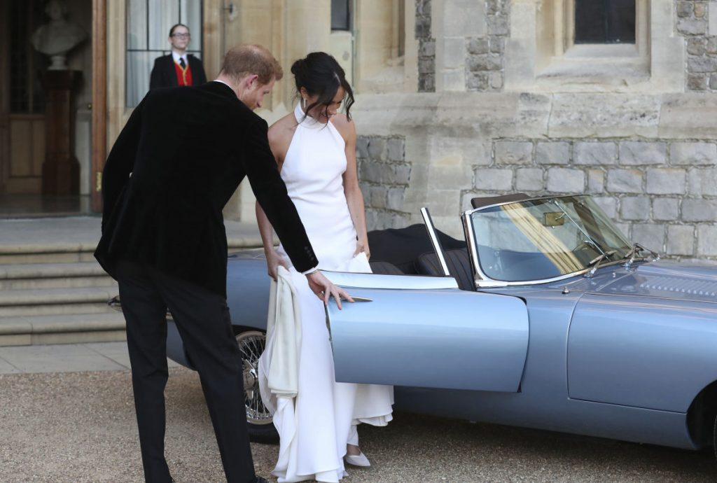 The newly married Duke and Duchess of Sussex left Windsor Castle on May 19 in a Jaguar Roadster modified to be all-electric.