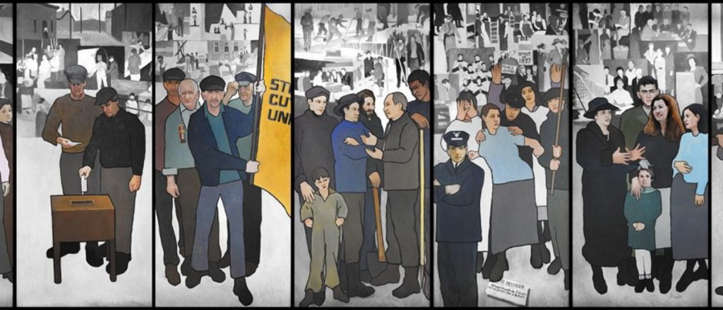 "The mural, by artist Judy Taylor, was erected in 2008. It depicts several moments in Maine labor history, including a 1937 shoe mill strike in Auburn and Lewiston and ""Rosie the Riveter"" at Bath Iron Works."