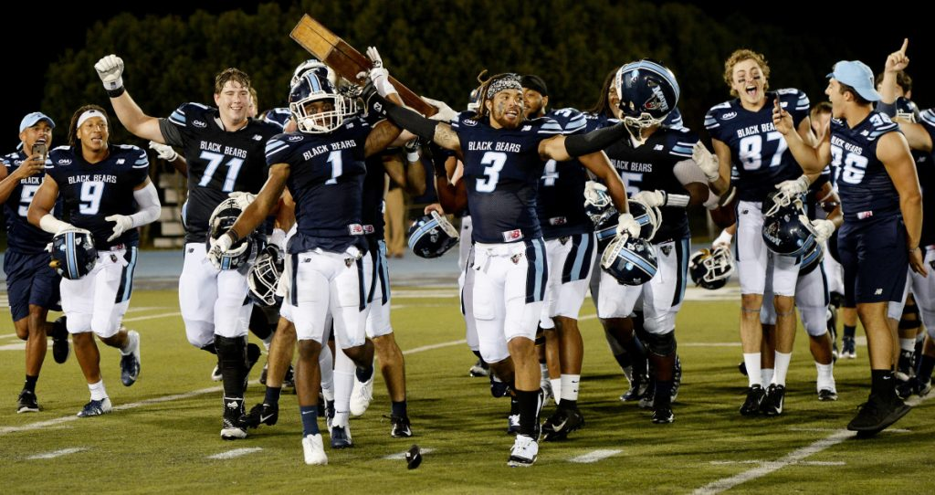 Maine hadn't beaten New Hampshire in football since some of the current players were in grade school. But no matter. The Black Bears dominated in their opener Thursday, celebrated with the Brice-Cowell musket, but are now moving on. A trip to Western Kentucky is next.