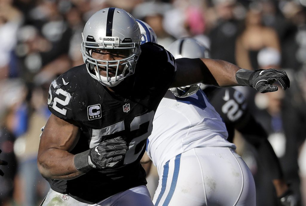Defensive end Khalil Mack was traded from the Raiders to the Bears on Saturday.