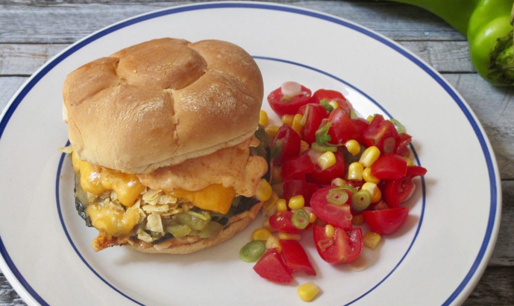This burger also stands out because of the smoky mayonnaise spread and crushed tortilla chips.
