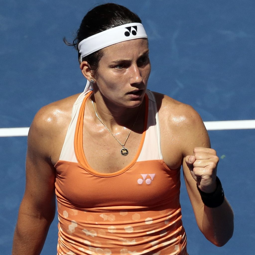 Anastasija Sevastova, of Latvia, reacts after winning a point against Sloane Stephens during the quarterfinals of the U.S. Open on in New York.