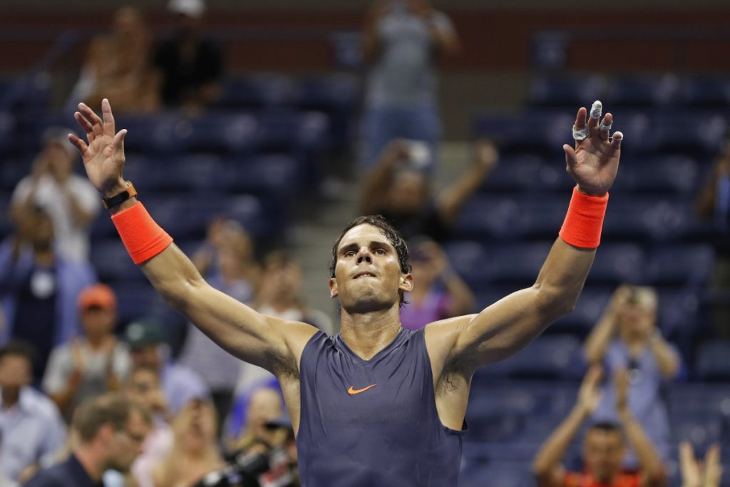 Rafael Nadal celebrates after defeating Dominic Thiem during the quarterfinals of the U.S. Open on Wednesday. (AP Photo/Adam Hunger)