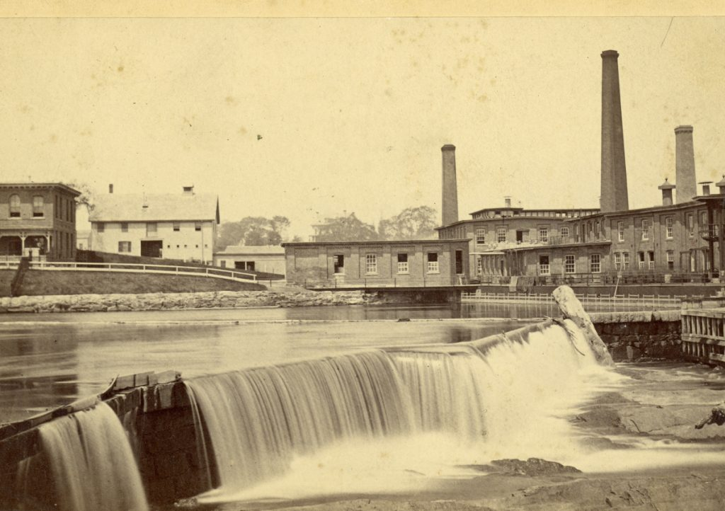 The S.D. Warren Co. paper mill, shown in this 1884 photo, was established on the banks of the Presumpscot River in 1854.