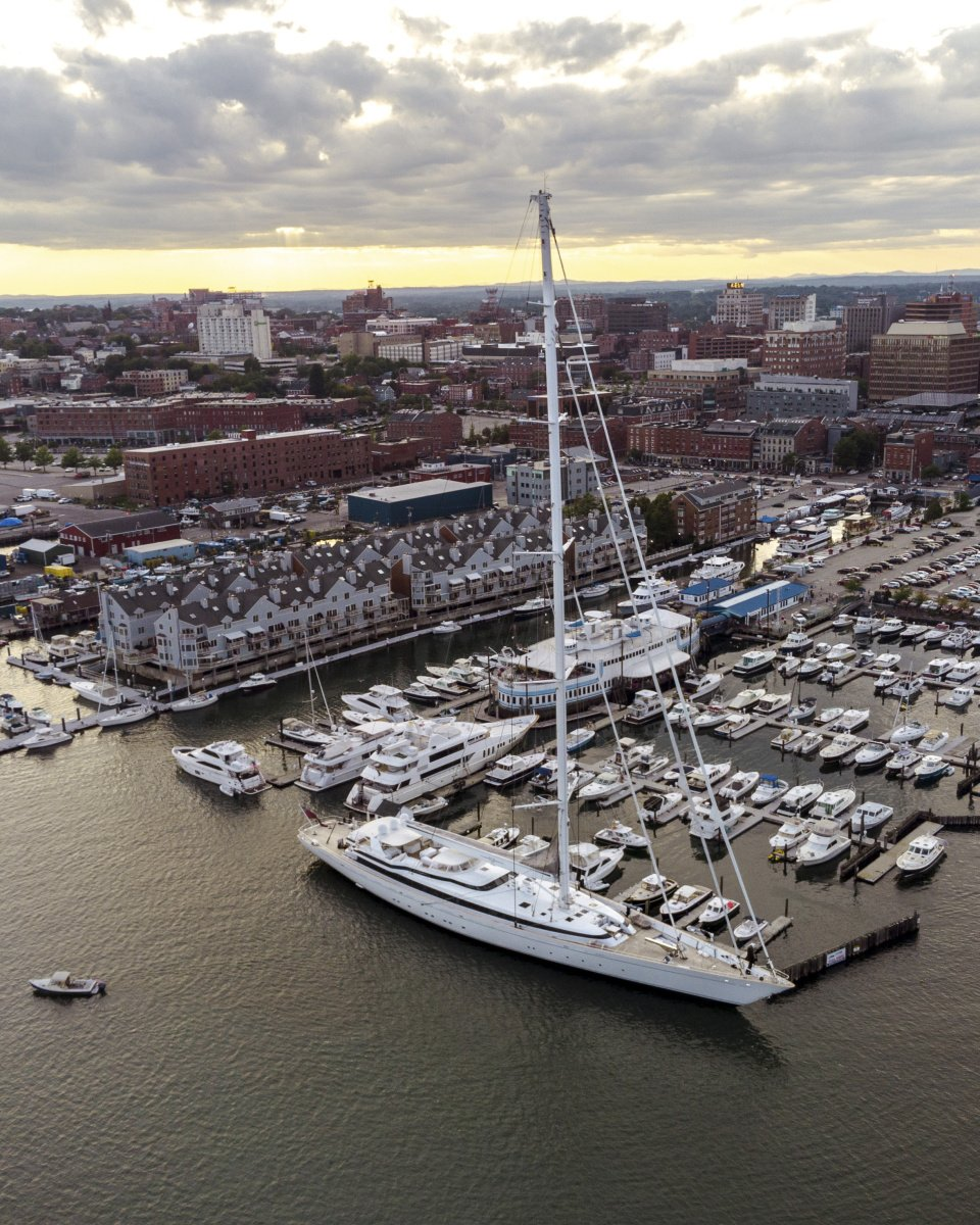 Mega sailing yacht catches wind gust, damages pilings in Portland Harbor