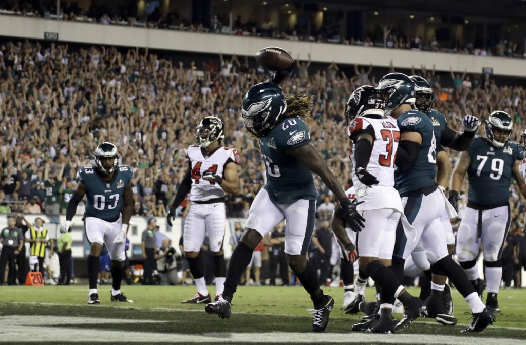 Philadelphia's Jay Ajayi celebrates after scoring a touchdown in the second half Thursday night against the Atlanta Falcons at Philadelphia.