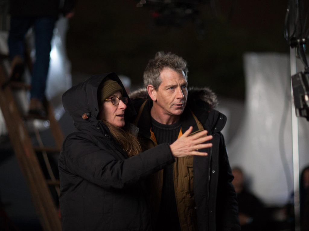 "Director Nicole Holofcener with Ben Mendelsohn on the set of ""The Land of Steady Habits."""