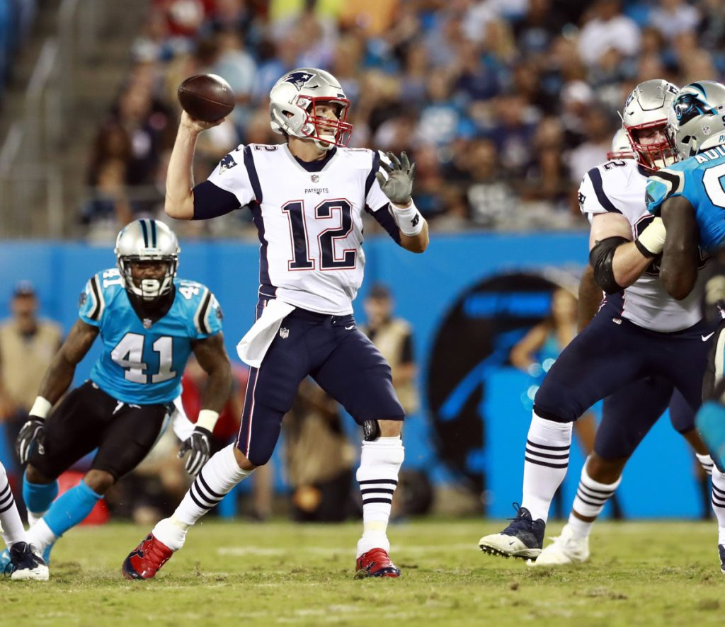Patriots quarterback Tom Brady showed no sign of slowing down last season, when he became the oldest player to win the NFL's most valuable player award at age 40, and has said he wants to keep playing until he's 45.