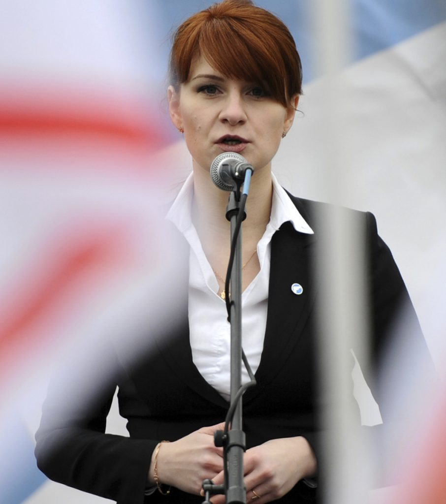 Maria Butina, leader of a pro-gun organization in Russia, speaks to a crowd during a rally in support of legalizing the possession of handguns in Moscow in 2013.