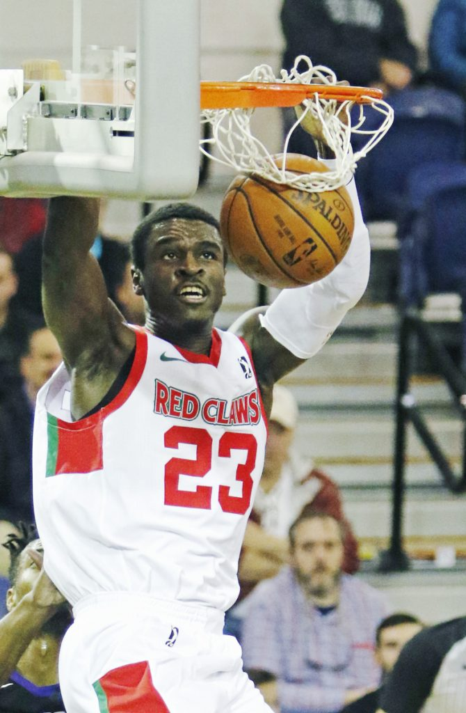 Jabari Bird gets a dunk while playing for the Maine Red Claws at the Portland Expo in November.