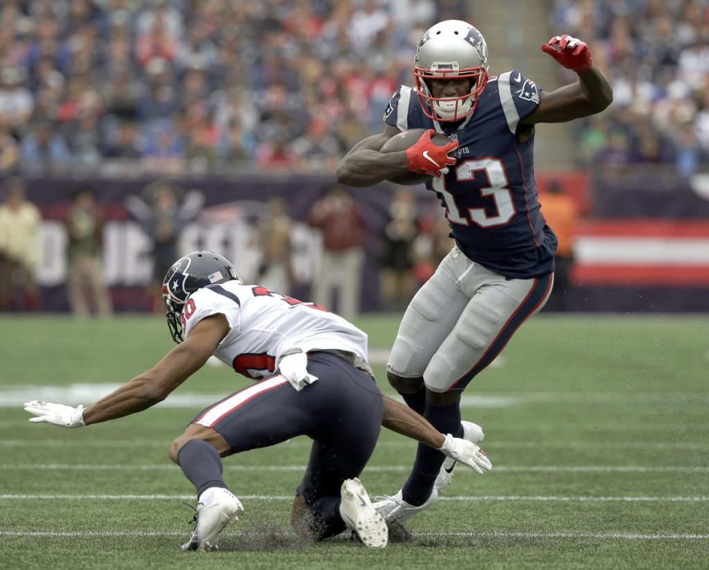 Receiver Phillip Dorsett, eluding Houston cornerback Kevin Johnson after catching a pass Sunday, arrived in New England just before the season a year ago. Now, with a year and an offseason for everything to sink in, he's proving a benefit to a complex offense.