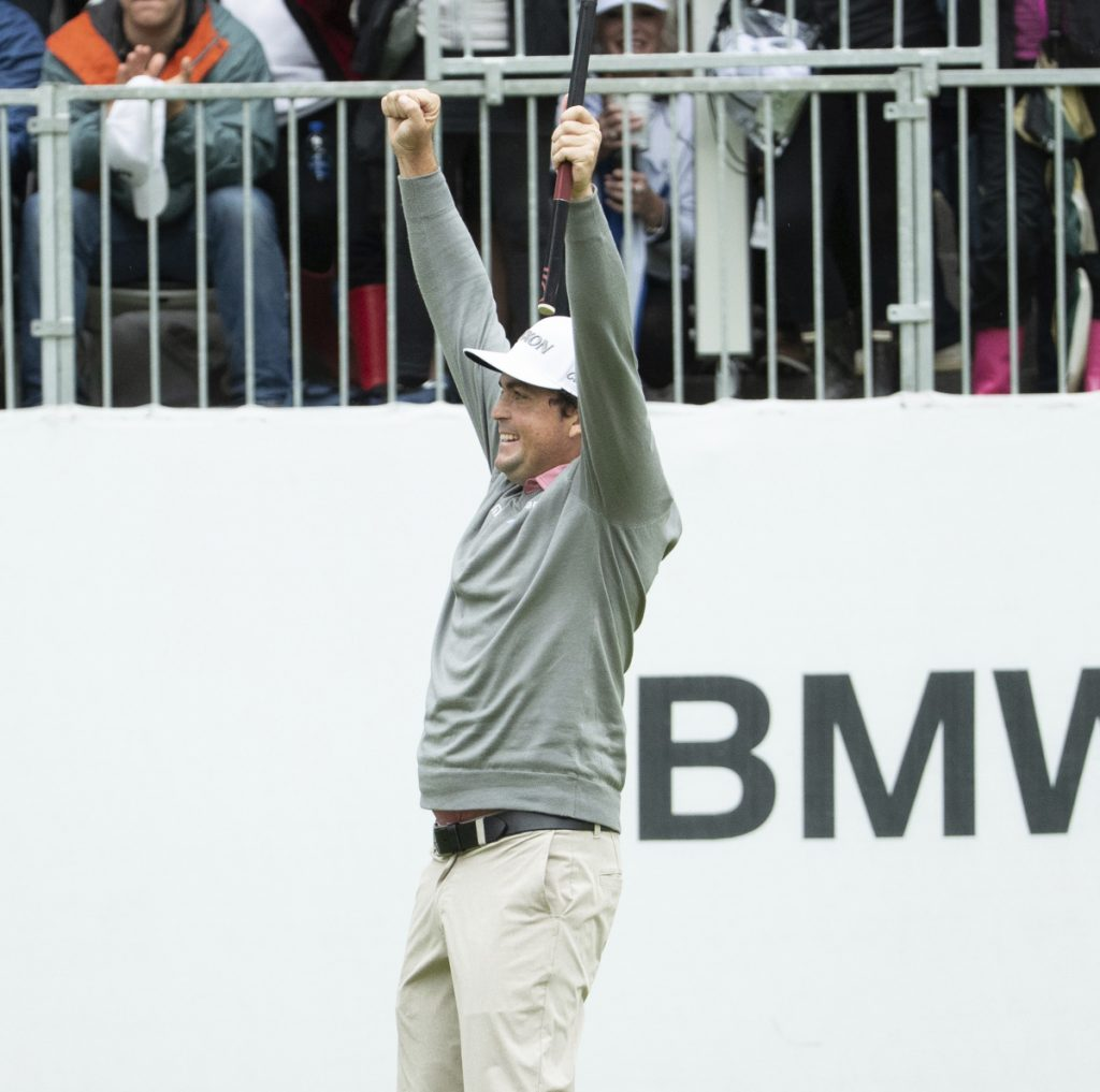 Keegan Bradley celebrates after beating Justin Rose on a playoff hole to win the BMW Championship on Monday at the Aronimink Golf Club in Newtown Square, Pa.