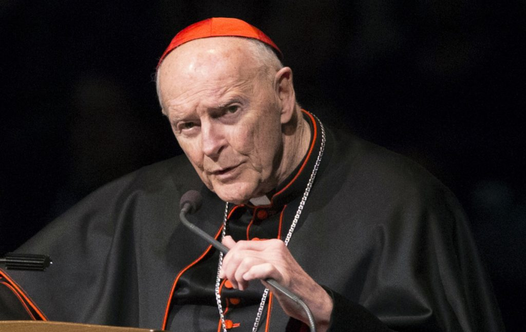 Ex-Cardinal Theodore McCarrick speaks at a memorial in 2015. The Vatican has known about McCarrick's crimes since 2000.