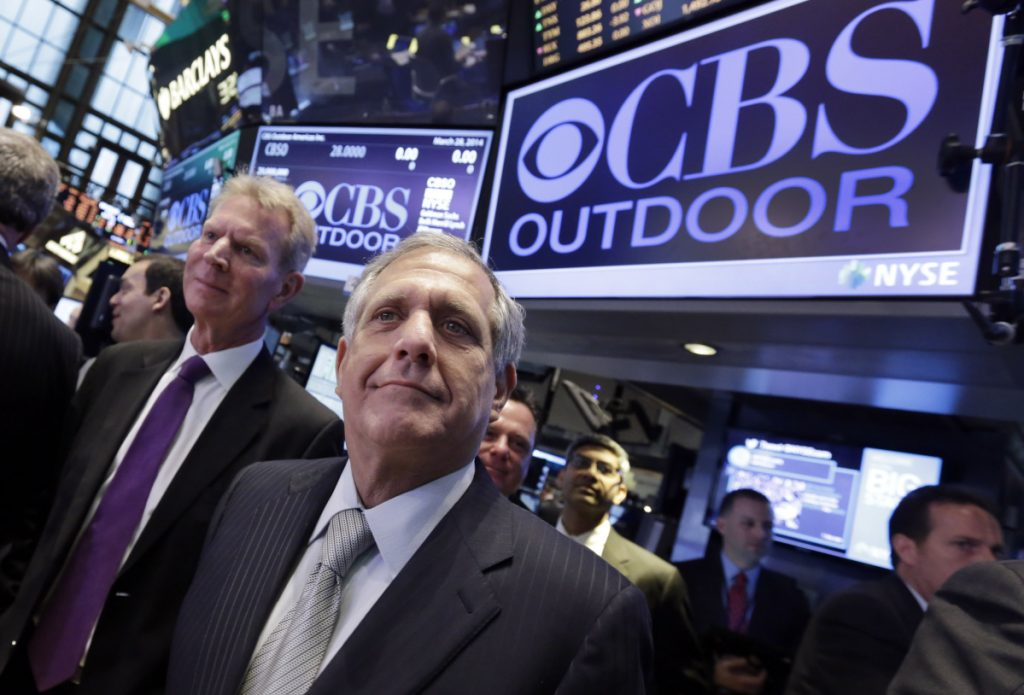 CBS President and CEO Leslie Moonves, center, was paid nearly $140 million over the past two years. Whether he sees any severance money hinges on the outcome of an investigation being led by outside lawyers hired by CBS. He has denied wrongdoing.