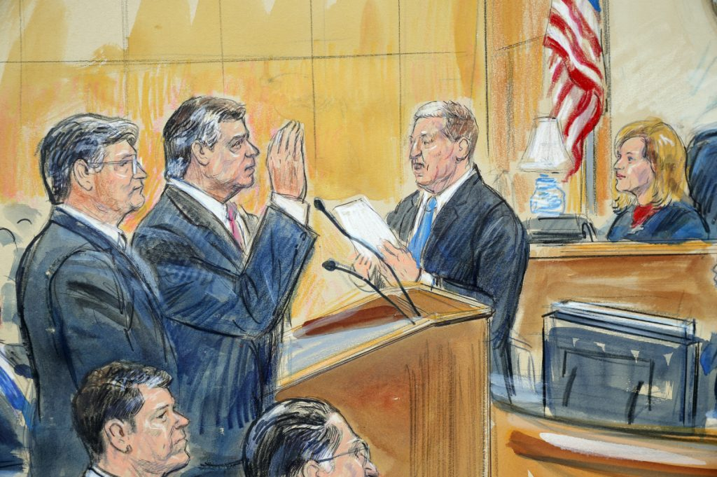 This sketch depicts former Trump campaign chairman Paul Manafort, center, and his defense lawyer Richard Westling, left, before U.S. District Judge Amy Berman Jackson in federal court in Washington on Friday as prosecutors Andrew Weissman, bottom center, and Greg Andres watch. Manafort pleaded guilty to two federal charges as part of a cooperation deal with prosecutors.
