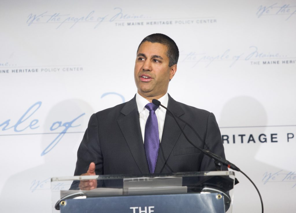 Federal Communications Commission Chairman Ajit Pai speaks at a fundraiser hosted by the Maine Heritage Policy Center on Friday in Portland.