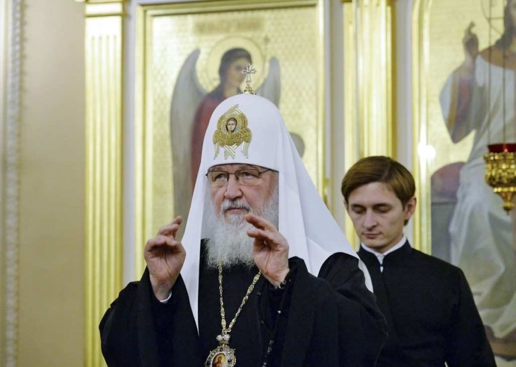 Russian Orthodox Church Patriarch Kirill presides over a meeting of the church's Holy Synod of the Russian Orthodox Church in Moscow on Friday. The Russian church has been working on a response to its Ukraine counterpart, which is pressing ahead with a move toward independence.