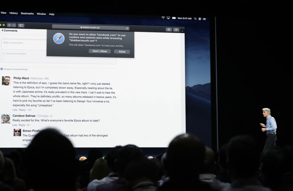 Craig Federighi, Apple's senior vice president of software engineering, addresses an audience in June at the Apple Worldwide Developers Conference in San Jose, Calif. Safari is rolling out new data privacy protections.