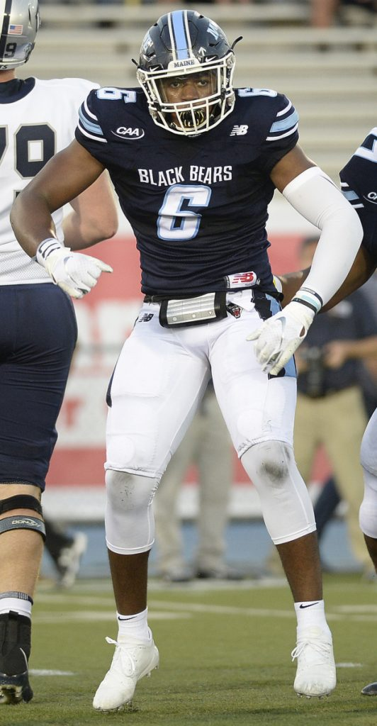 UMaine linebacker Sterling Sheffield is learning to not put so much pressure on himself and yes, it's working. He's third in the nation in sacks and tied for 12th in tackles with a loss, helping the Black Bears to a 2-0 record.