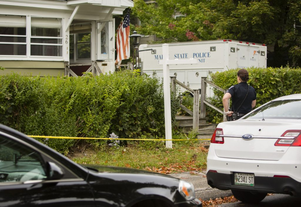Saco and Maine State Police respond to a duplex at 26 Nye St. in Saco, where Michael Burns of New Hampshire was fatally shot on Sept. 30, 2017.