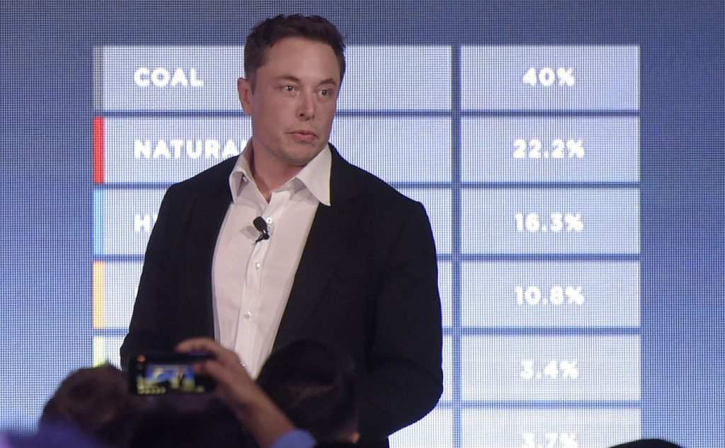 Elon Musk, co-founder and chief executive officer of Tesla Inc., speaks during an event at the Hornsdale wind farm near Jamestown, South Australia, in 2017. Bloomberg/Carla Gottgens