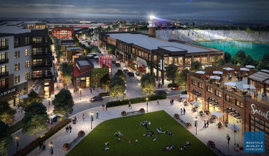 "This rendering envisions Waterstone Properties Group's proposal for a mixed-use urban development called ""Rock Row"" on the former Pike Industries quarry site near Westbrook's border with Portland. A Market Basket grocery store is one of nine buildings planned for the first phase of the development."