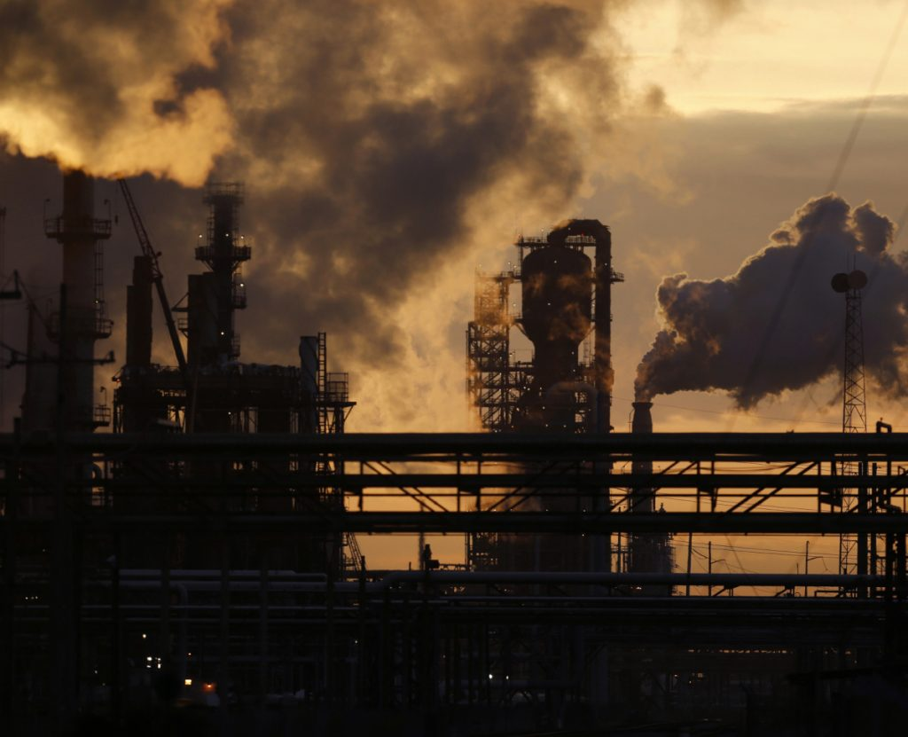 Emissions rise from the Royal Dutch Shell Refinery in Norco, La. Methane is a component of natural gas.