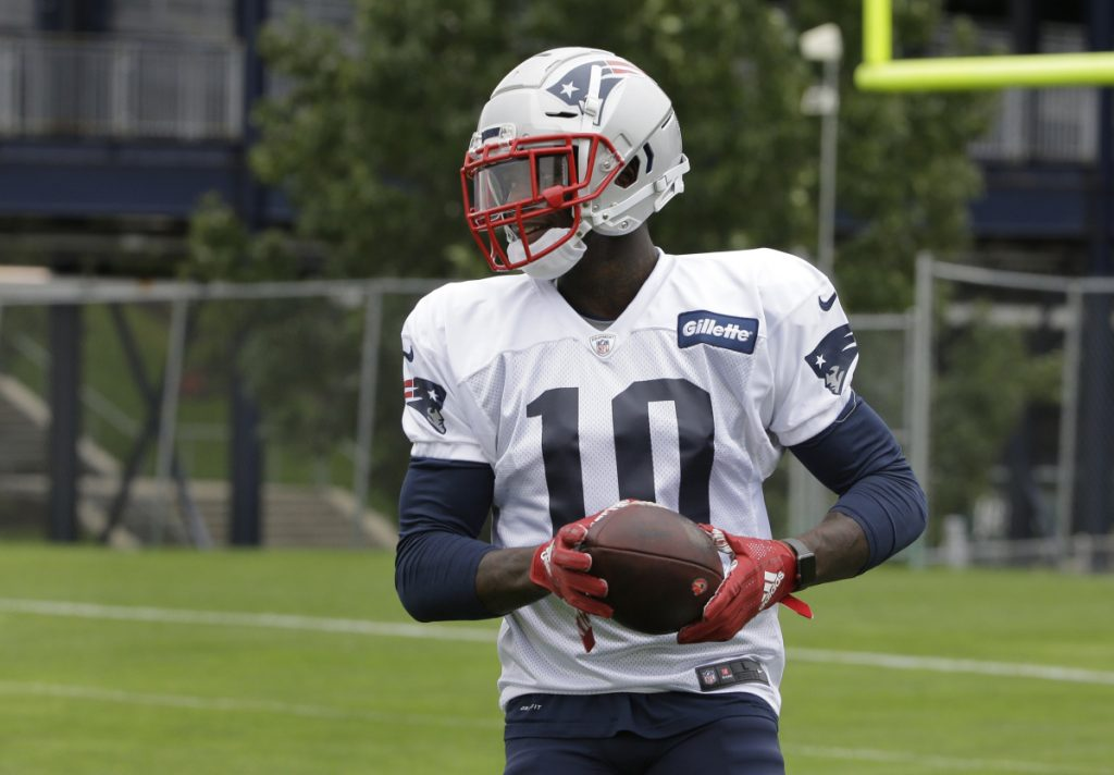 Josh Gordon made his first appearance at practice with the Patriots on Wednesday.