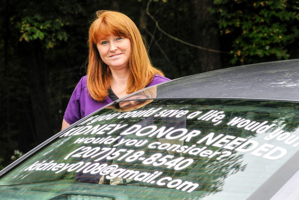 Krystal Reardon is appealing for a life-saving kidney with this sign on her car, seen Thursday in Augusta.