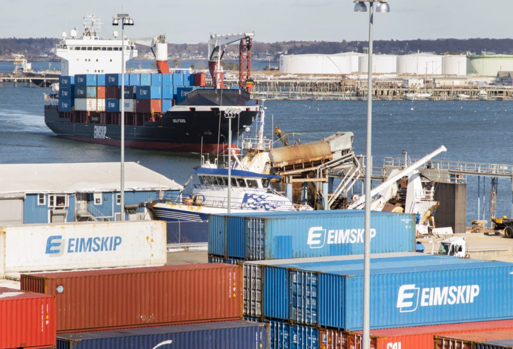 An Eimskip ship arrives at the Maine Port Authority in March. Container cargo units handled by Eimskip in Portland grew from 7,200 to over 17,500 in 2017 under departing managing director Larus Isfeld, at top.