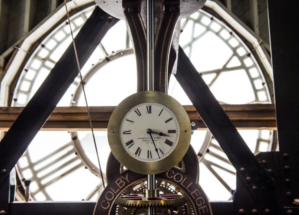 The clock ticks away near the top of the Miller Library steeple at Colby College in Waterville on August 3. The college has decided to eliminate the requirement to submit SAT or ACT scores for admission for the class of 2023, preferring instead to focus on the overall achievements of applicants, lessen their anxiety and increase access for disadvantaged students.