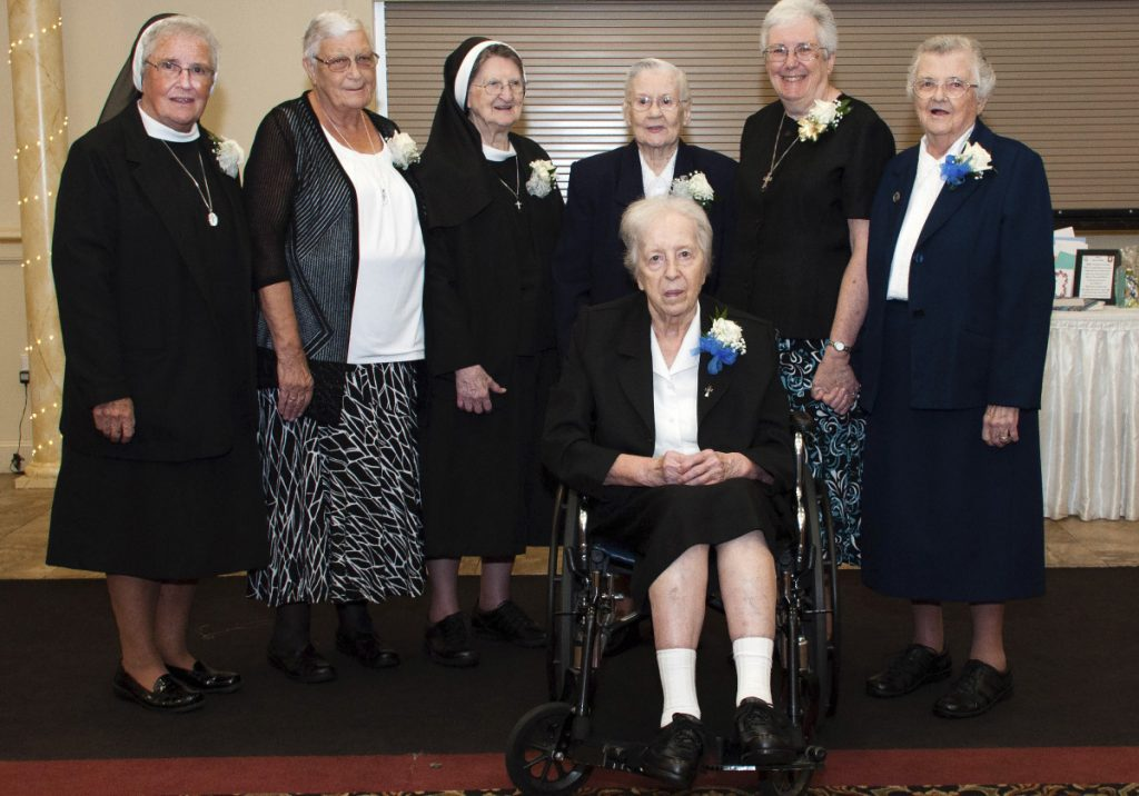 Sisters of Mercy in Greater Portland who recently celebrated at least 50 years of service in the Roman Catholic faith include, from left, Sister Annemarie Kiah, Sister Janet Campbell, Sister Mary Columba Staples, Sister Mary Kneeland, Sister Patricia Flynn, Sister David Mary Duncan and Sister Mary Thaddene Barnes (seated).