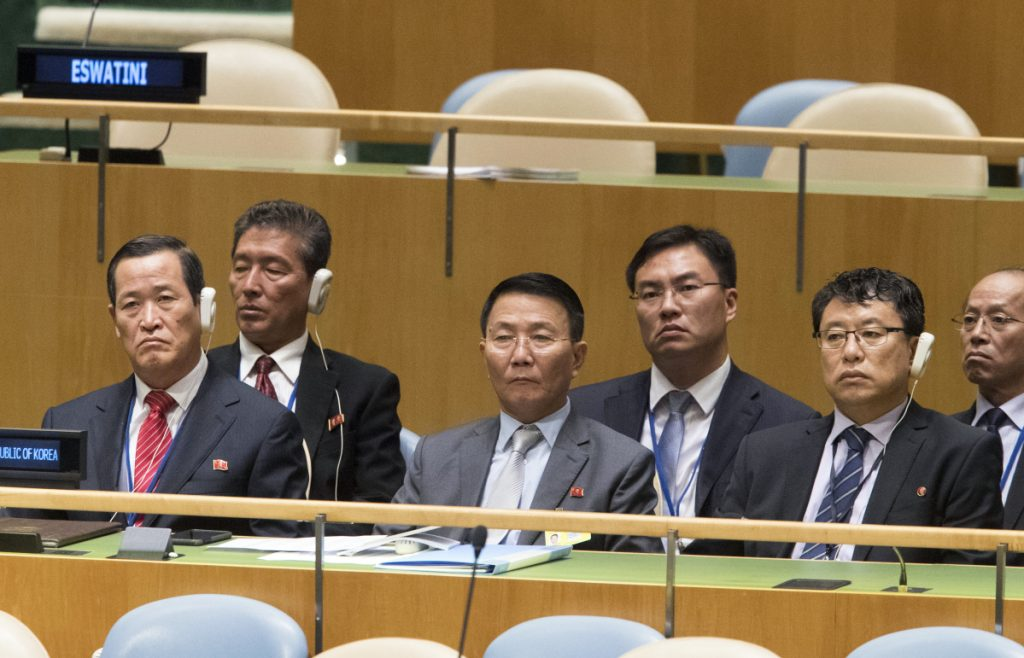 Members of the North Korean delegation listen as their Foreign Minister Ri Yong Ho addresses the 73rd session of the United Nations General Assembly on Saturday.