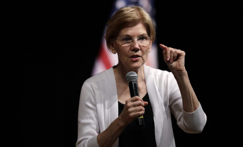 U.S. Sen. Elizabeth Warren, D-Mass., speaks during a town hall-style event in August in Woburn, Mass.