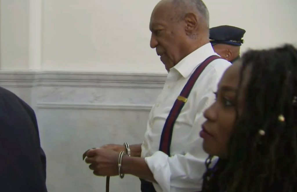 Bill Cosby leaves the courtroom after he was sentenced to serve three to 10 years in prison for felony sexual assault, on Tuesday in Norristown, Pa., in this image taken from video.